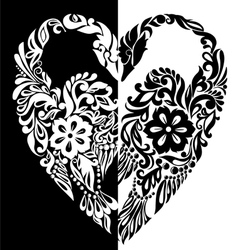 Black and white swans from vector