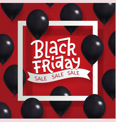black friday sale poster with shiny black vector image