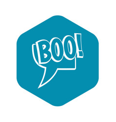 Boo comic text speech bubble icon simple style vector