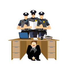 businessman scared under table of policemen vector image
