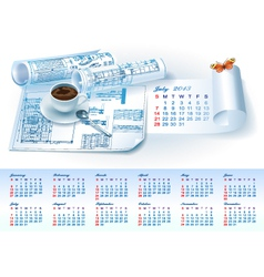Calendar for 2013 with architectural elements vector image