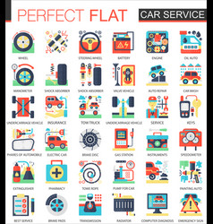 Car service complex flat icon concept vector