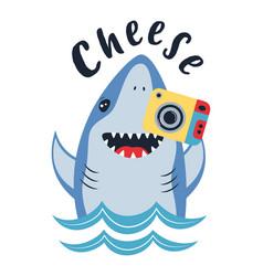 Card cute shark with photocamera isolated on vector