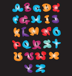 Cartoon graffiti comic doodle font alphabet vector