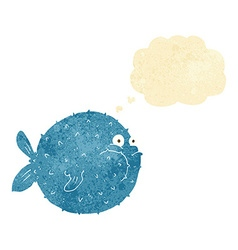 cartoon puffer fish with thought bubble vector image