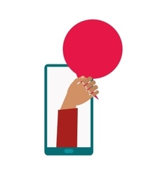 Cellphone tan hand red bubble vector