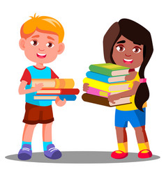 child is carrying a heavy pile of books vector image