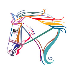 colorful decorative horse 10 vector image