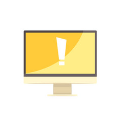 Computer with exclamation sign on yellow screen vector