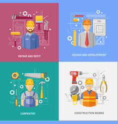 Construction work concept square composition vector