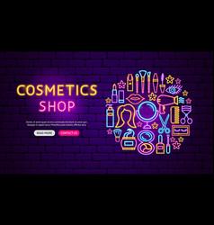 Cosmetics shop neon banner design vector