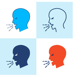 coughing person icon set in line style vector image