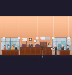 Court hearing concept flat vector