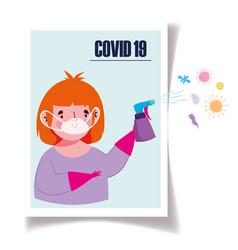 covid19 19 coronavirus boy with mask vector image