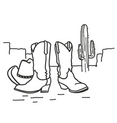 Cowboy boots and western hat wild west arizona vector