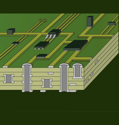 Cross-section of green motherboard vector