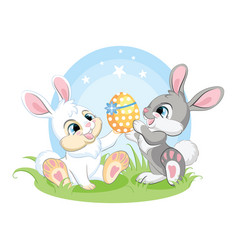 cute easter bunnies sitting on spring grass vector image