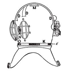 Diving helmet side vintage vector