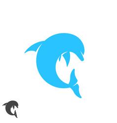 dolphin logo round shape jumping marine animal vector image