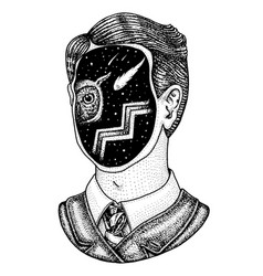 double exposure space in a man detective vector image