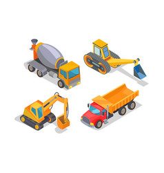 excavator and cement mixer industrial machinery vector image