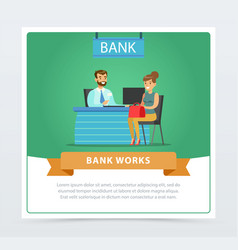 female client consulting at manager at the bank vector image
