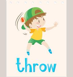 Flashcard with boy throwing ball vector
