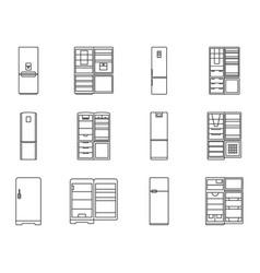 Fridge outline kitchen vector