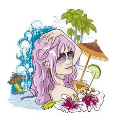 girl on holidays vector image
