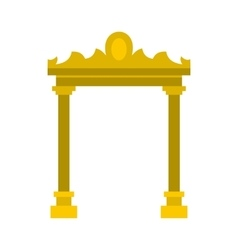 Golden antique arch icon flat style vector