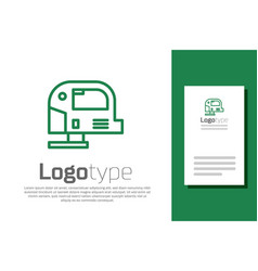 green line electric jigsaw with steel sharp blade vector image