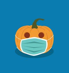 halloween pumpkin in anti-virus mask halloween day vector image
