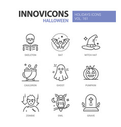 halloween symbols - modern line design style icons vector image