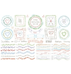 Hand drawn brusheswreath setColored Doodle decor vector image
