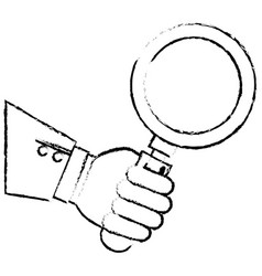 Hand human with search magnifying glass icon vector