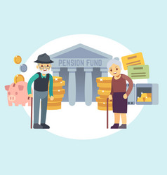 Happy senior old people saving pension money vector