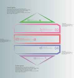 Hexagon infographic from five color parts created vector