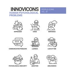 Human psychological problems line design style vector