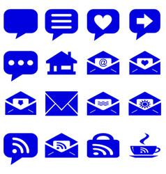 internet icons set - website blue buttons vector image