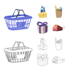 Isolated object of food and drink symbol set of vector