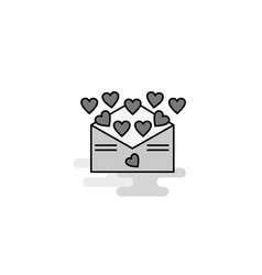 love letter web icon flat line filled gray icon vector image