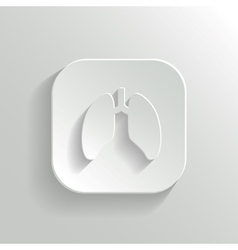 Lungs icon - white app button vector image