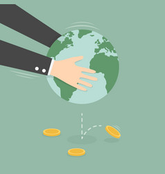 man taking money out globe vector image