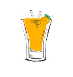 Mango cocktail hand drawn in sketch retro style vector
