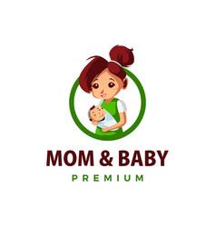 Mom and baby thump up mascot character logo icon vector