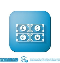 Money bill symbol icon dollar pound sterling vector