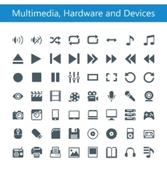 Multimedia Hardware and Devices Icons vector image