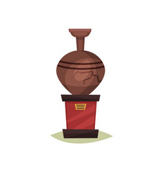 Old brown ceramic vase with crack on red stand vector