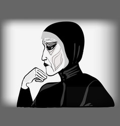 Old woman in the black vector