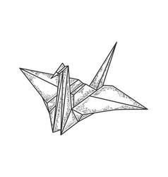 Origami crane bird sketch vector